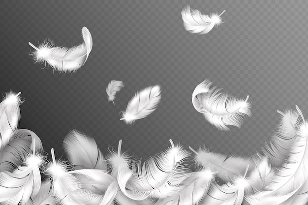 Tło białe pióra. spadający latający puszysty łabędź, gołąb lub anielskie skrzydła, miękkie upierzenie ptaka. koncepcja ulotki stylu