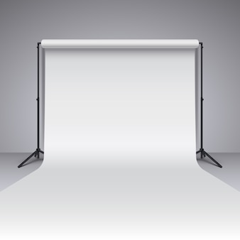 Tło białe studio puste. realistyczne wektor fotograf studio tło
