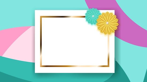 Tło białej prostokątnej ramki ze złotym paskiem i kolorowymi papierowymi kwiatami