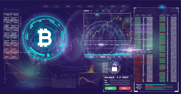 Tło bitcoin z elementami hud