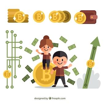 Tło bitcoin z osobami