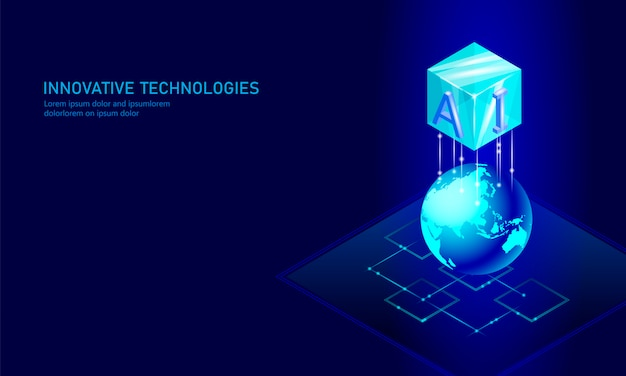 Tło biznesowe izometrycznej sztucznej inteligencji