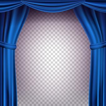 Tło błękitnej kurtyny teatralnej. przezroczyste tło na koncert, imprezę, teatr, szablon tańca. realistyczna ilustracja