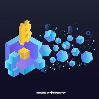 Tło blockchain z izometrycznymi kształtami