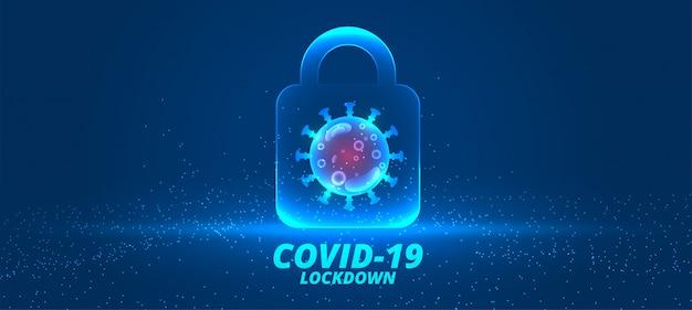 Tło blokady koronawirusa z projektem komórki wirusa