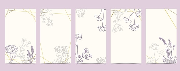 Tło boho dla mediów społecznościowych z magnolią, lawendą, kwiatem na białym tle