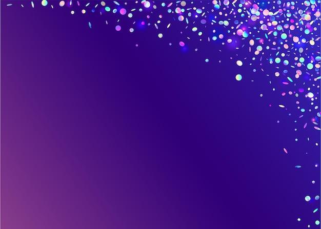 Tło bokeh. tęczowe konfetti. różowe błyszczące błyszczy. rozmycie serii. folia brokatowa. efekt upadku. retro świętować ilustracja. jasna sztuka. niebieskie tło bokeh