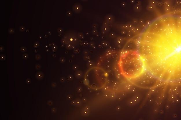 Tło bokeh z iskierkami jasne słońce efekt świetlny jasne cząsteczki