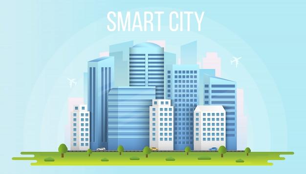 Tło budynków miejskiego krajobrazu inteligentnego miasta.