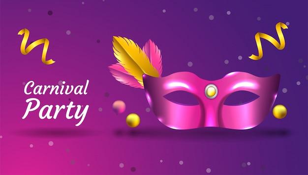 Tło carnival party z realistyczną maską, wstążką i piórkiem, w kolorze różowym i złotym