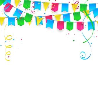 Tło celebracja z konfetti flagi ramka kolorowe wstążki. luksusowe powitanie bogata karta.