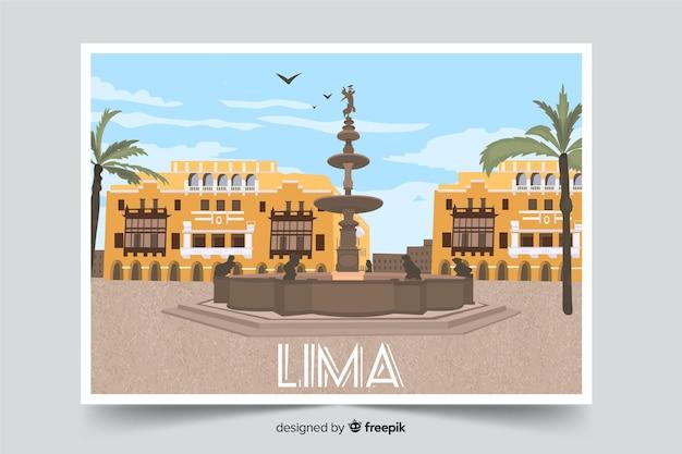 Tło centrum miasta lima