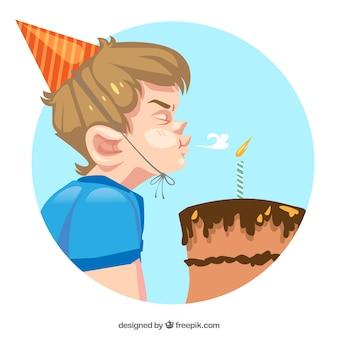Tło chłopca dmuchanie tort urodzinowy