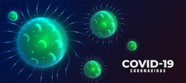 Tło choroby koronawirusa covid-19 z wirującym wirusem