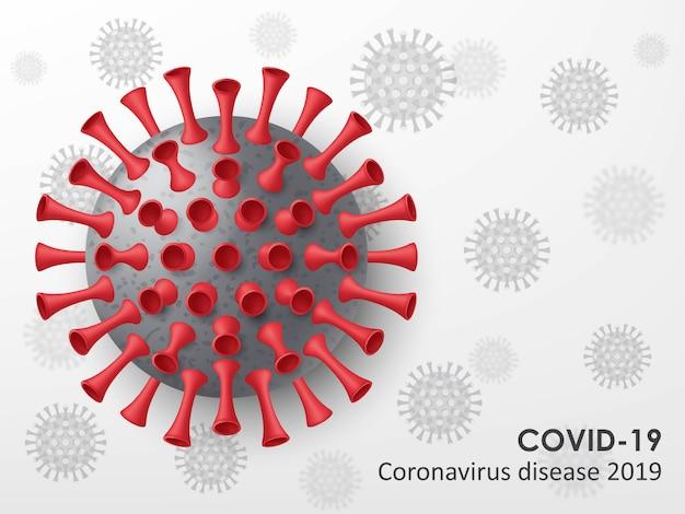 Tło choroby koronawirusa. realistyczne komórki wirusa. ilustracja.