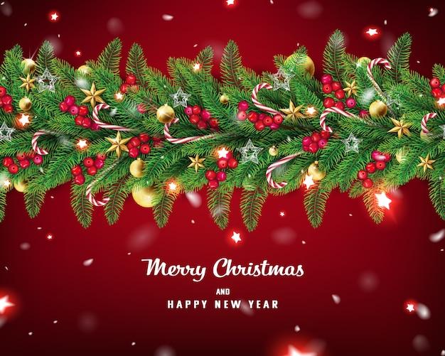 Tło christmas garland ze śniegiem i czerwoną świecącą gwiazdą spada powoli w czerwonym tył