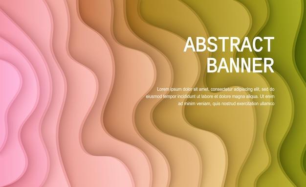 Tło cięcia papieru abstrakcyjna realistyczna dekoracja papierowa do projektowania falistego gradientu od różu do zieleni
