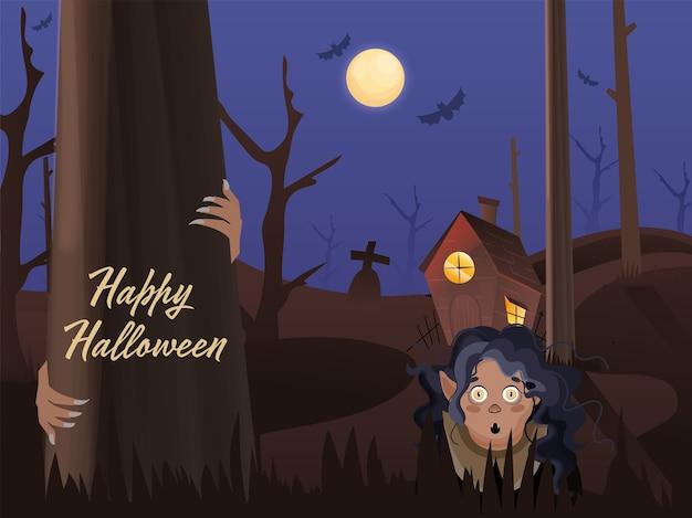 Tło cmentarza w pełni księżyca z nawiedzonym domem i kreskówkową wiedźmą lub kobietą-duchem z okazji happy halloween.