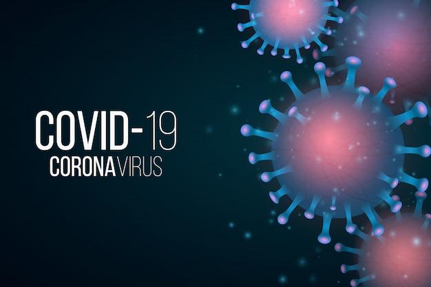 Tło covid 19. 3d mikrob z efektem świetlnym. organizm patogenny. ilustracja