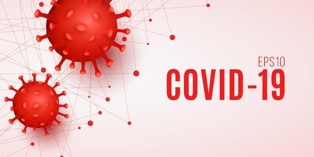 Tło covid-19. organizm patogenu 3d.