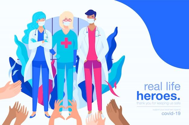 Tło covid-19 z bohaterami medycznymi