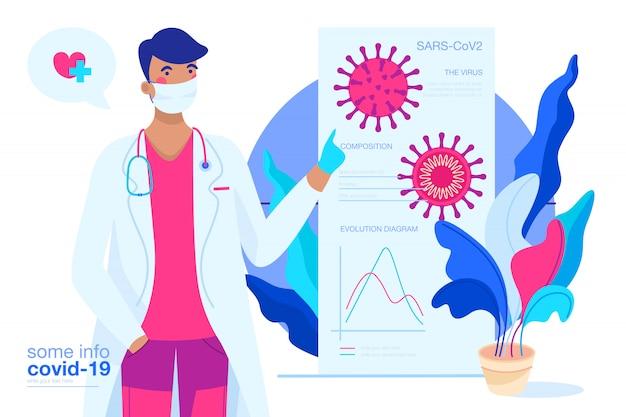 Tło covid-19 z lekarzem wyjaśniającym wirusa
