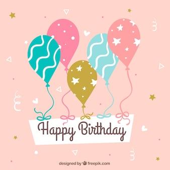 Tło cute dekoracyjne balony urodzinowe