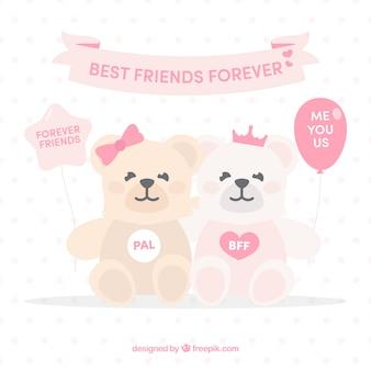 Tło cute misie z wiadomościami przyjaźni