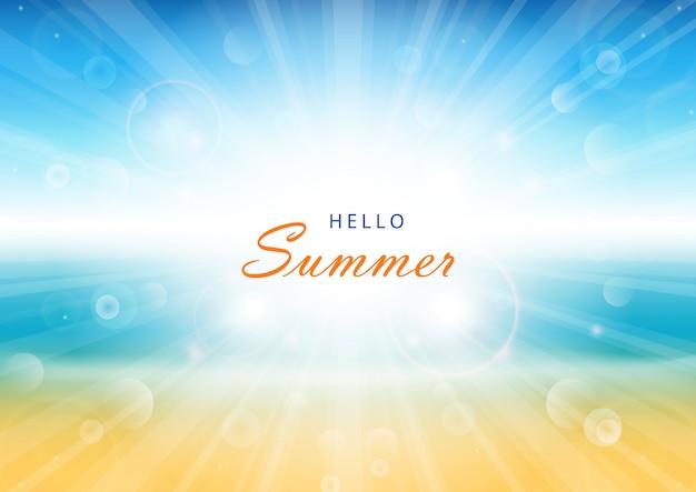 Tło czas letni. plaża i tropikalne morze z jasnym słońcem. ilustracja