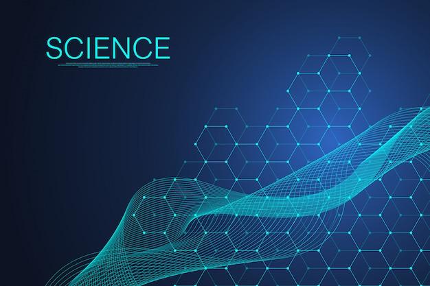 Tło cząsteczki naukowe dla medycyny, nauki, technologii, chemii. szablon nauki lub cząsteczki dna. dna z dynamicznym przepływem fali. molekularny.