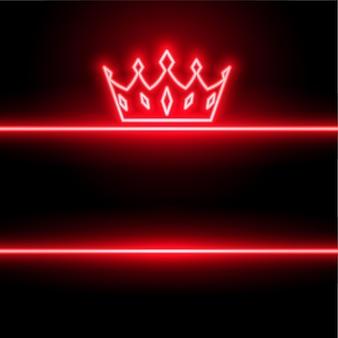 Tło czerwone korony w stylu neonowym