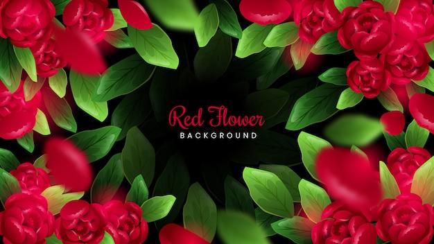 Tło czerwone kwiaty
