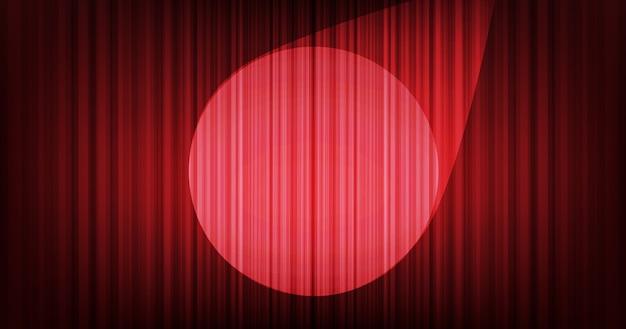 Tło czerwone zasłony z oświetleniem stage