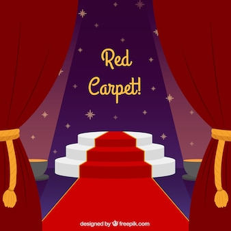 Tło czerwonego dywanu w stylu płaski