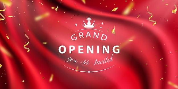 Tło czerwonej kurtyny wielkie otwarcie konfetti wydarzenie złote wstążki luksusowe powitanie bogata karta