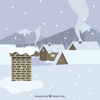 Tło dach i domy pokryte śniegiem w płaskiej konstrukcji