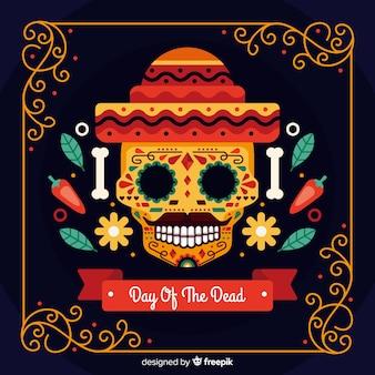 Tło dia de muertos w płaska konstrukcja