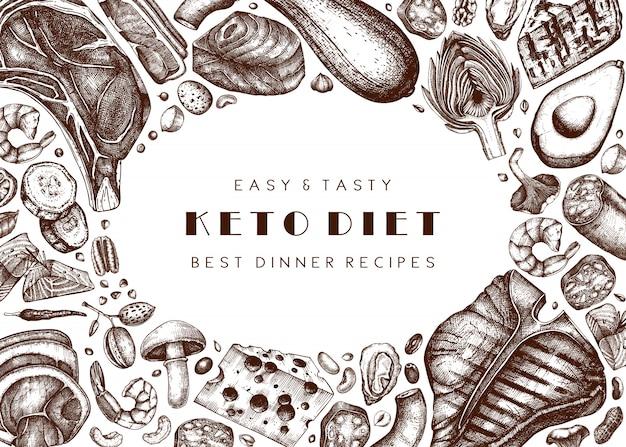 Tło diety ketogenicznej. ręcznie rysowane ilustracje żywności ekologicznej i produktów mlecznych. elementy diety keto - mięso, warzywa, zboża, orzechy, grzyby.