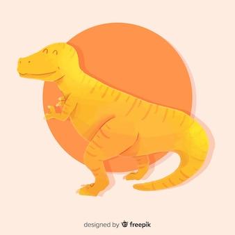 Tło dinozaura akwarela t-rex