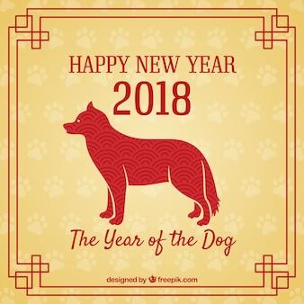 Tło dla chińskiego nowego roku z psią sylwetką