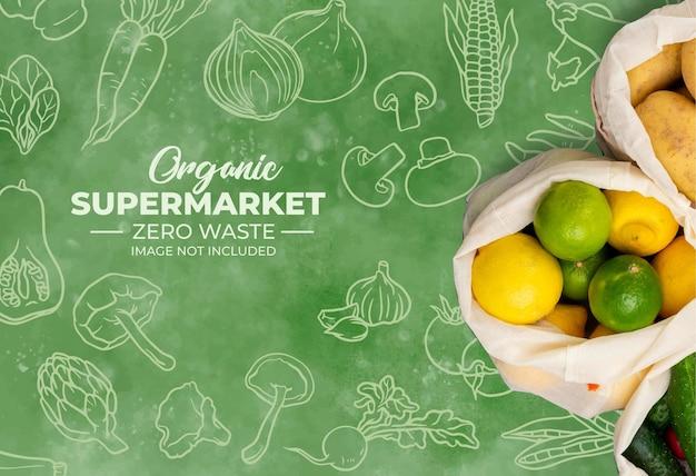 Tło dla ekologicznego supermarketu z akwarelą