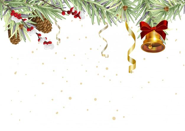 Tło dla kartki świąteczne. świerkowe gałęzie i złoty dzwon