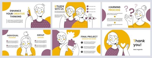 Tło dla projektu prezentacji lub slajdu. pomysł na twórczą naukę i rozwój.służy do reklamowania kursów edukacyjnych, kreatywnych szkół online lub offline, ulotek serwisowych, broszur, broszur.