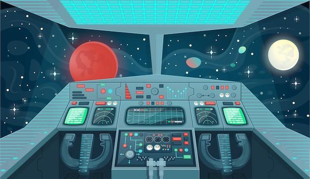 Tło dla statków kosmicznych gier i aplikacji mobilnych. wnętrze statku kosmicznego, widok kokpitu wewnątrz. ilustracja kreskówka.