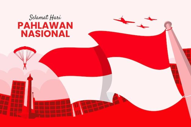 Tło dnia bohaterów pahlawan z powiewającą flagą