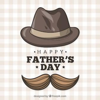Tło dnia ojca z kapelusz i wąsy