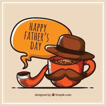Tło dnia ojca z kapeluszem i fajką