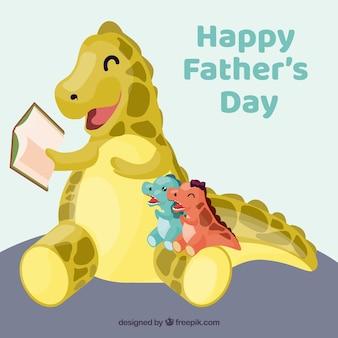 Tło dnia ojca z rodziną uroczych dinozaurów
