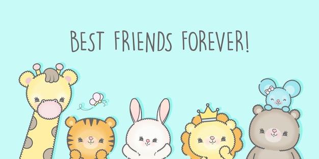 Tło Dnia Przyjaźni Z Najlepszymi Przyjaciółmi Premium Premium Wektorów
