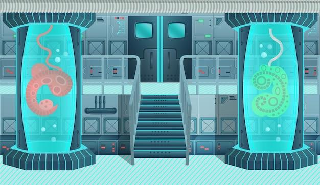 Tło do gier i aplikacji mobilnych. wnętrze statku kosmicznego, laboratorium. ilustracja kreskówka.
